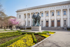 Bulgarian National Library and momument of Cyril and Methoduis Stock Photos