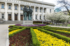 Bulgarian National Library and momument of Cyril and Methoduis Stock Image