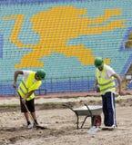 Bulgarian national stadium renovation workers Stock Photos