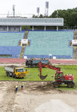 Bulgarian national stadium renovation workers Stock Photography