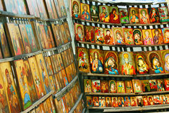 Bulgarian orthodox icons. Christian orthodox hand-painted icons for sale in Sofia, Bulgaria Stock Photo
