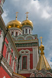 Bulgarian Orthodox Monastery Church. Golden onion domes and spire and red brick of Russian Orthodox style Bulgarian Shipchenski  Monastery Church Stock Photo