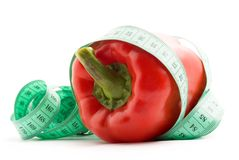 Bulgarian pepper and centimeter Royalty Free Stock Photo