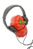 Bulgarian pepper in headphones Stock Photography