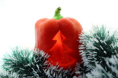 The Bulgarian pepper New Year. The Bulgarian pepper with the New Year's tinsel Stock Photography