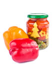 Bulgarian pepper, pickled cucumbers and tomatoes Royalty Free Stock Photo
