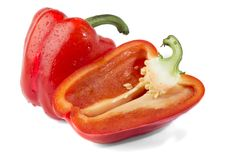 Bulgarian pepper on white, isolate. royalty free stock image