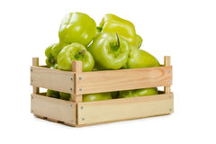 Bulgarian pepper in a wooden box Royalty Free Stock Photography