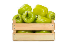 Bulgarian pepper in a wooden box Royalty Free Stock Photos