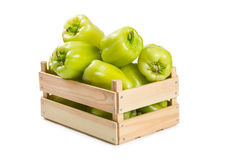 Bulgarian pepper in a wooden box Stock Photos