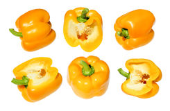 Bulgarian pepper yellow isolated set, cut in half. Stock Photos
