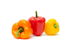 Bulgarian peppers of different colors on a white background. Stock Photography