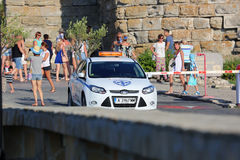 Bulgarian Police Car in Nessebar, Bulgaria Stock Photo
