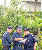 Bulgarian policemen at the Nestinar Games in the village of Bulgarians Stock Photo
