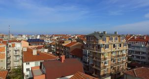 Bulgarian Pomorie in the autumn. City center. Pomorie - famous resort town in Bulgaria. In summer it is a popular tourist destination, mainly from Russia stock video footage