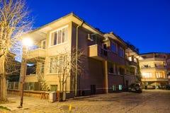 Bulgarian Pomorie. Night houses royalty free stock photo