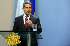 Bulgarian President Rosen Plevneliev. Gestures during a news conference, May 15, 2013, Sofia, Bulgaria Royalty Free Stock Photography