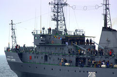 Bulgarian president at warship deck Stock Photos