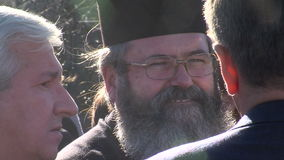 Bulgarian priest at the opening of the monument to Academician Likhachev, Bulgaria stock video footage