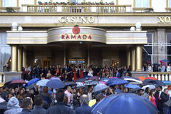 Bulgarian prom scene at hotel entrance Stock Photos