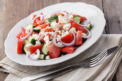 Bulgarian salad. With brynza and vegetables Royalty Free Stock Images