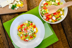 Bulgarian salad with feta cheese Stock Photo