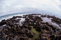 Bulgarian sea coast with rocks. Fisheye view landscape of bulgarian sea coast Stock Image
