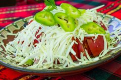 Bulgarian Shopsky Salad made of tomatoes, cucumbers and cheese Royalty Free Stock Photography