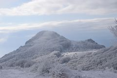 Bulgarian snow cover in Sliven. Mountain snow cover in city Sliven, Bulgaria stock image