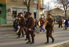Bulgarian soldiers at carnival procession Stock Photo