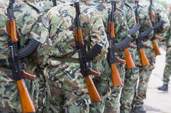 Bulgarian soldiers in uniforms with Kalashnikov AK 47 rifles. Soldiers from the Bulgarian army are preparing for a parade for Army's day in uniforms with Royalty Free Stock Photo