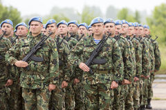 Bulgarian soldiers in uniforms with Kalashnikov AK 47 rifles Royalty Free Stock Images