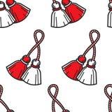 Bulgarian symbol red and white tassels seamless pattern. Travel to Bulgaria Bulgarian symbol red and white tassels seamless pattern vector martenitsa national stock illustration