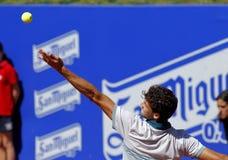 Bulgarian tennis player Grigor Dimitrov. Serves during a match of Barcelona tennis tournament Conde de Godo on April 24, 2013 in Barcelona Stock Photography