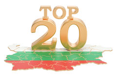 Bulgarian Top 20 concept, 3D rendering. Isolated on white background Royalty Free Stock Photo