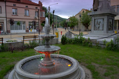 Bulgarian town main street. Bulgarian small town evening view,Krichim town,Bulgaria Stock Photos