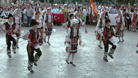 Bulgarian traditional dance at the International Folklore Festival stock video footage