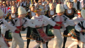 Bulgarian traditional dance at the International Folklore Festival stock video