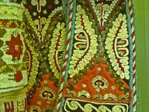 Bulgarian traditional folk carpet fabric with geometric motives and bright colors Royalty Free Stock Photography