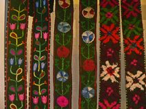 Bulgarian traditional folk carpet fabric with geometric motives and bright colors Stock Photo