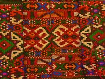 Bulgarian traditional folk carpet fabric with geometric motives and bright colors Royalty Free Stock Photos