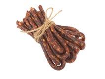 Bulgarian traditional sausage Bireni. Isolated on white Royalty Free Stock Photography