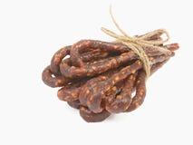 Bulgarian traditional sausage Bireni. Isolated on white Stock Photo