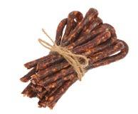 Bulgarian traditional sausage Bireni. Isolated on white Royalty Free Stock Images