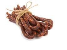 Bulgarian traditional sausage Bireni. Isolated on white Royalty Free Stock Photo