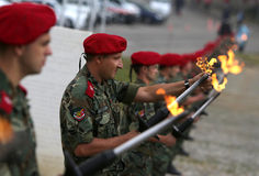 Bulgarian troopers with torches Royalty Free Stock Image