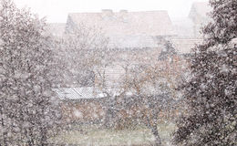 Bulgarian village snow storm Royalty Free Stock Images