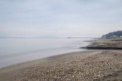 Bulgarian winter beach. Burgas, Central beach Stock Photos