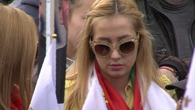 Bulgarian young people at a rally in Sofia stock video footage