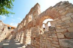 Bulgarien. Vägg av den forntida Nessebaren Arkivbilder